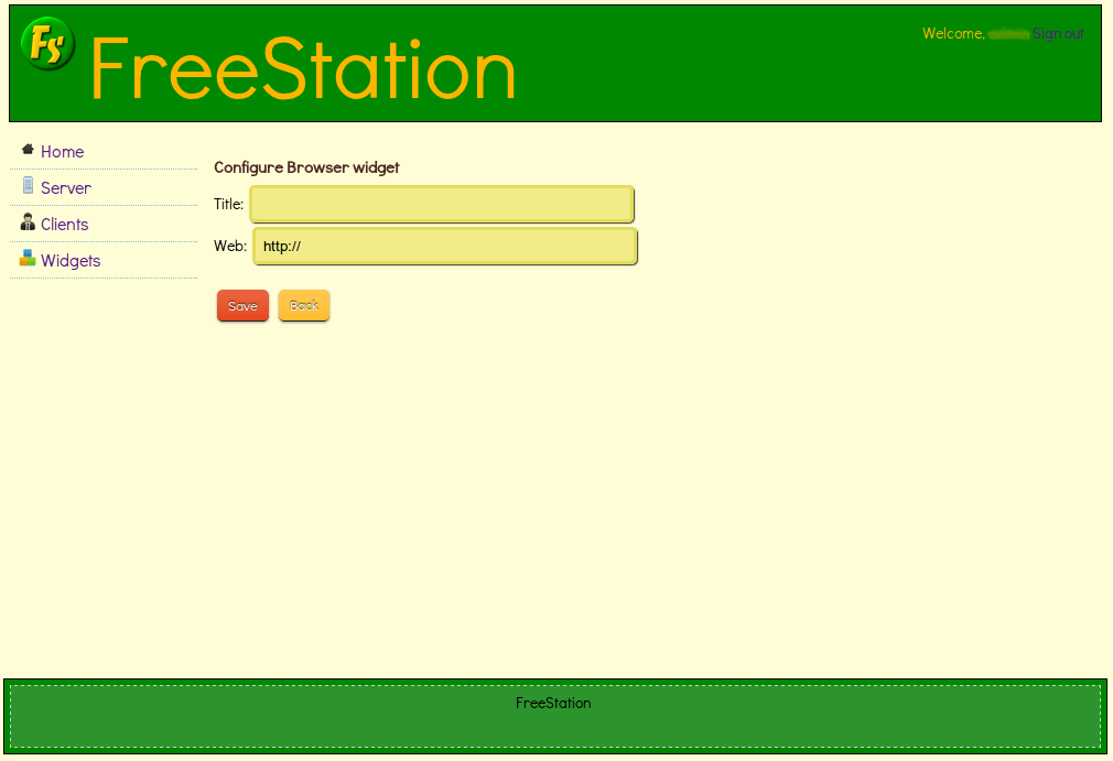 FreeStation Server - Configure Widget for a client